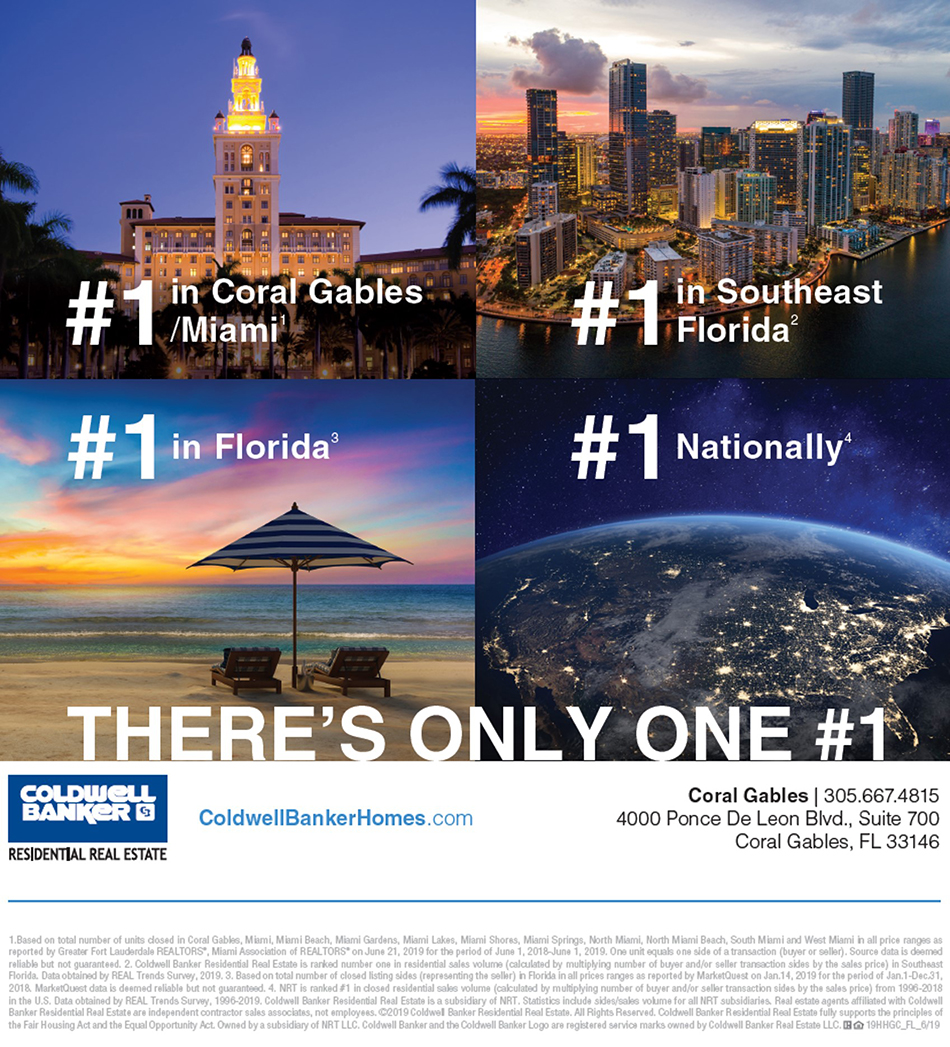Coldwell Banker #1 in Coral Gables, Miami, Southwest Florida, Florida and Nationally